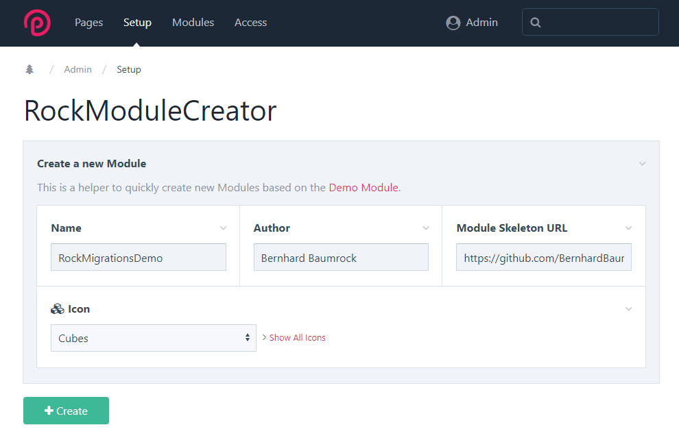 Screen capture of the RockModuleCreator interface with text fields for name, author, and module skeleton URL, and an icon picker field for module icon.